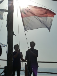 Our flag over the Sea of Galilee