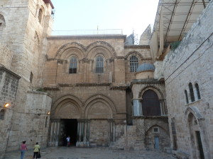 Entering the compound of the Church of the Holy Sepulchre
